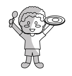 happy child with healthy eating related icons vector image vector image