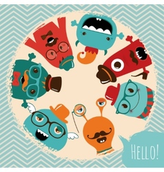 Hipster Retro Monsters Card Design vector image vector image