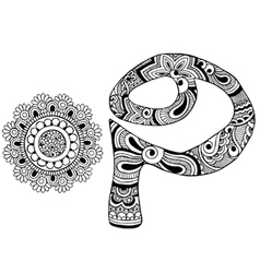 letter P decorated in the style of mehndi vector image vector image