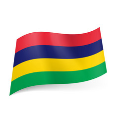 national flag of mauritius red blue yellow and vector image vector image