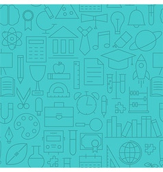 Thin Line Back to School Learning Seamless Blue vector image