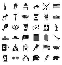 American icons set simple style vector