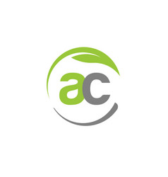 creative letter ac with circle green leaf logo vector image vector image