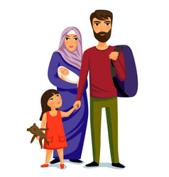 happy muslim family- parents their daughter and vector image