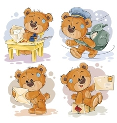 Set clip art of teddy bear gets and vector image