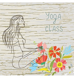 Yoga class background with woman and floral vector image vector image