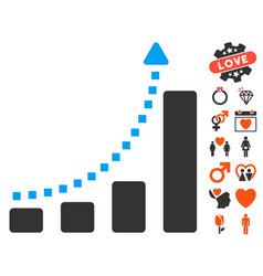 Bar chart trend icon with lovely bonus vector