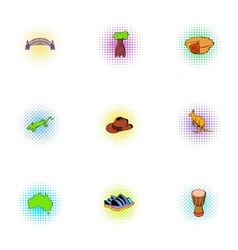Country of Australia icons set pop-art style vector image