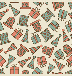 retro birthday party seamless pattern vector image vector image
