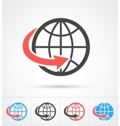 Trendy globe with arrow colorful and black icon vector image vector image