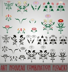 Art Nouveau Combination Flowers vector image