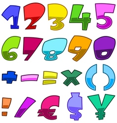 bright cartoon numbers vector image vector image