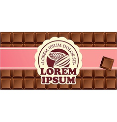 Chocolate bars in ribbon with vintage label vector