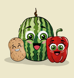 fruits and vegetables comic character vector image