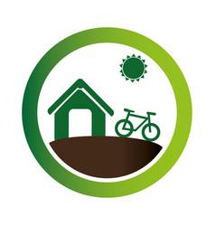 Green circular emblem with eco farm vector