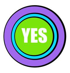 yes green button icon cartoon vector image vector image
