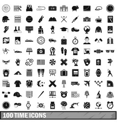 100 time icons set simple style vector