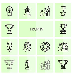 14 trophy icons vector