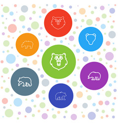 7 grizzly icons vector image