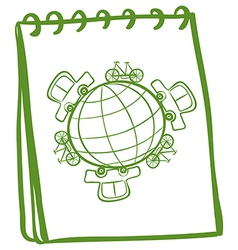 A notebook with a green doodle design vector