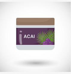Acai berry beauty product flat icon vector