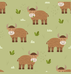 Adorable cattle or cow seamless pattern vector
