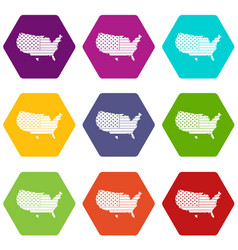 american map icon set color hexahedron vector image