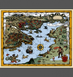 antique fantasy map vector image