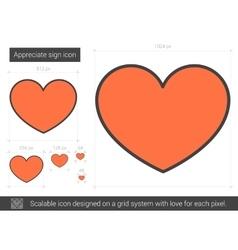 Appreciate sign line icon vector image