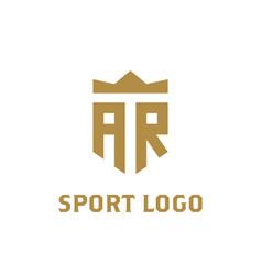 Ar logo initial logo with crown elegant letter vector