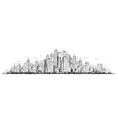 Artistic drawing sketch of generic city high rise vector