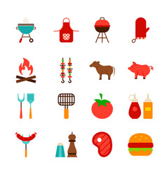 barbecue food objects vector image