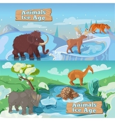 Beasts Ice Age Horizontal Banners vector