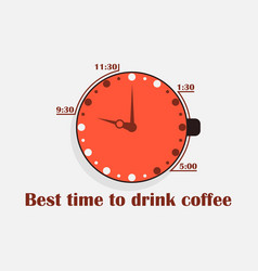 best time to drink coffee cup of coffee with a vector image