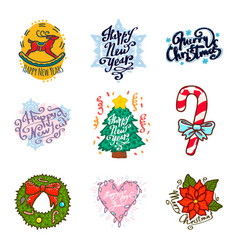 big set of lettering merry christmas and happy new vector image