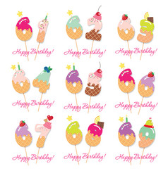 Birthday card set festive sweet numbers from 61 vector