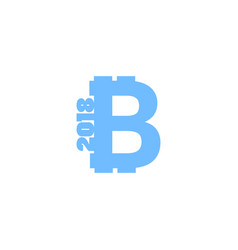 bitcoin sign icon for internet money with text vector image