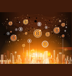 Bitcoins crypto currency over modern city vector