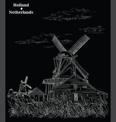 black hand drawing holland 3 vector image