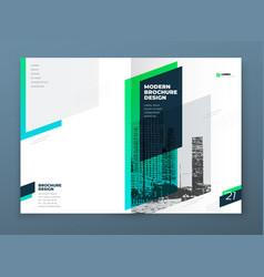 Brochure template layout design teal corporate vector