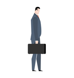 businessman with case goes isolated manager with vector image
