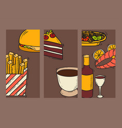 Cards fresh fast food hand drawn restaurant vector