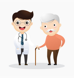 caring for elderly doctor and and old man vector image