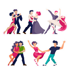 cartoon color characters people dancing concept vector image