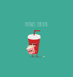 Cartoon fast food friends forever vector