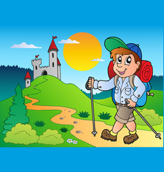 Cartoon hiker boy near castle vector
