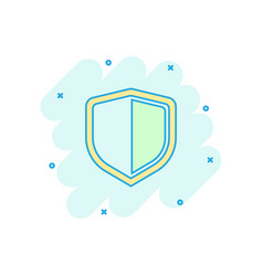 cartoon shield protect icon in comic style vector image