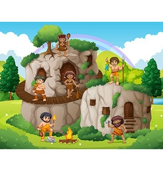 Cave people living in the stone house vector