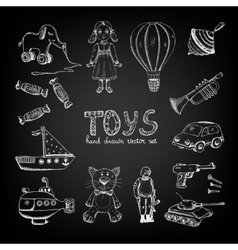 Chalkboard cartoon toys vector image