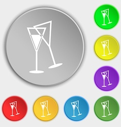 champagne glass icon sign Symbol on eight flat vector image